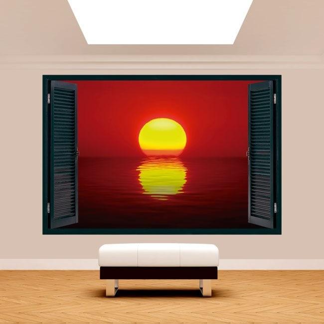 Windows 3D Sun sunset sea