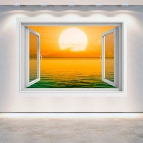 Windows 3D sunset on the sea