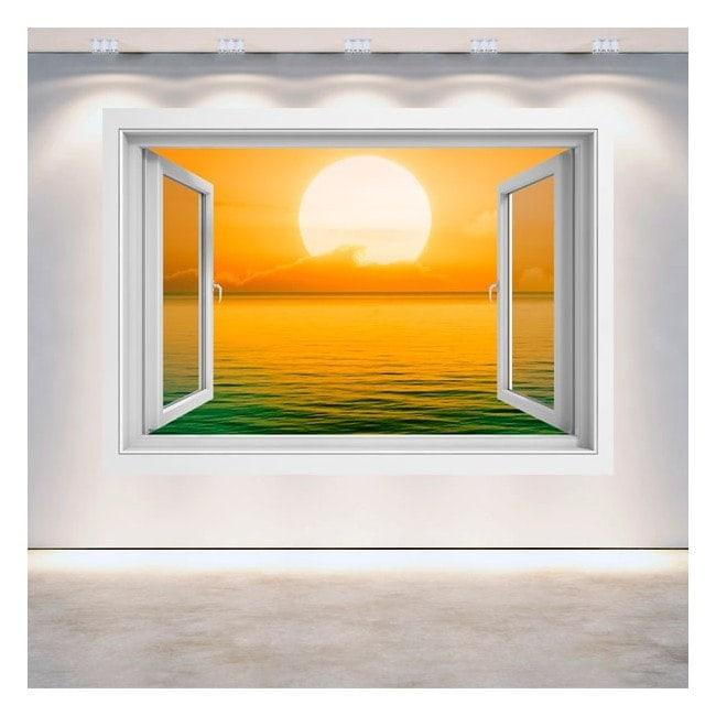 Windows 3D sunset on the sea