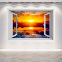 3D Sun window sunset sea