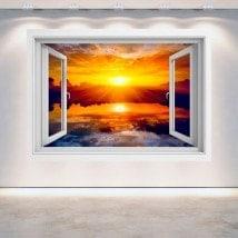 3D Sun window sunset sea