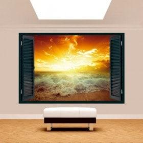 3D Sun window Sunset Beach