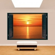 3dwindow sunset on the sea