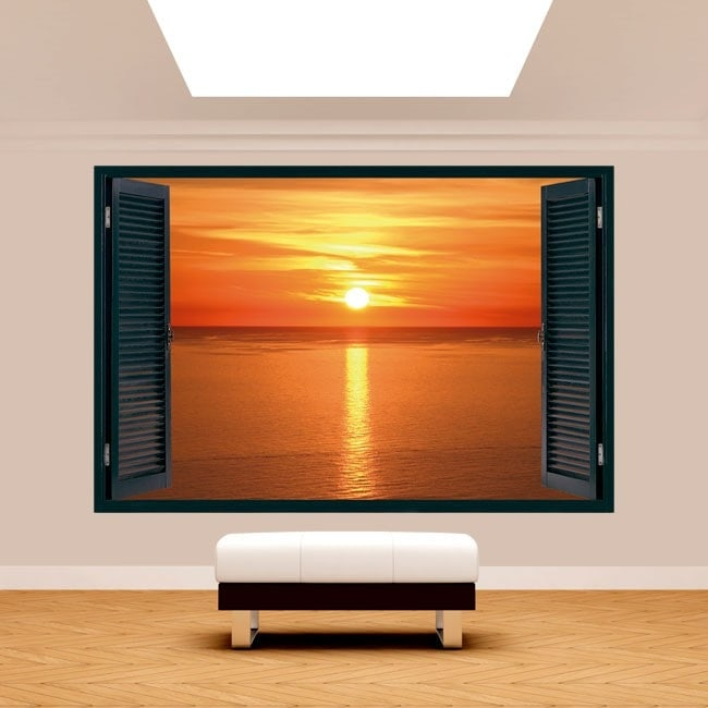3dwindow sunset on the sea