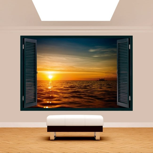 Windows 3D sunset sea English 5125
