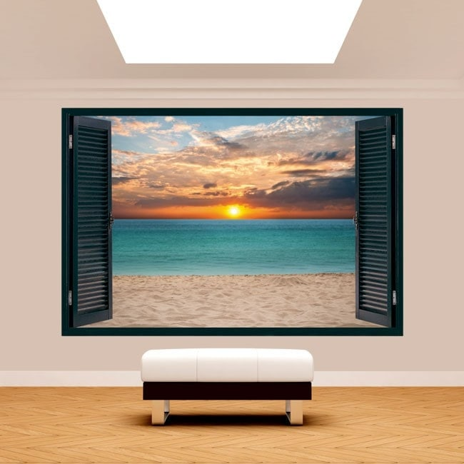 Windows 3D sunset on the beach English 5126