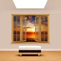 3D sea Sun sunset window