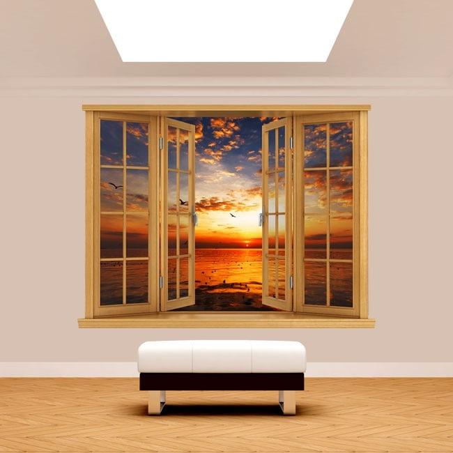 3D sea Sun sunset window