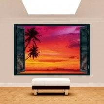 Windows 3D Palms Sunset Beach