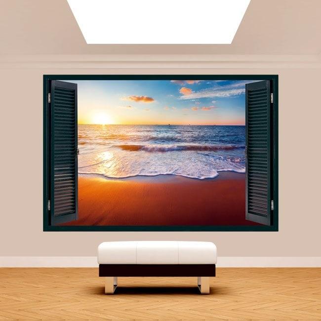 Windows 3D sunset on the beach English 5132