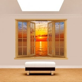 Windows 3D sea Sun sunset