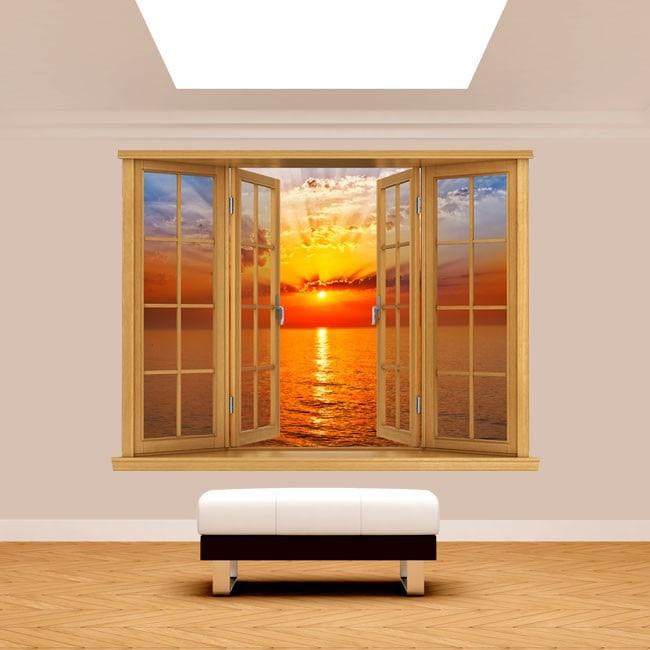 Windows 3D sea Sun sunset