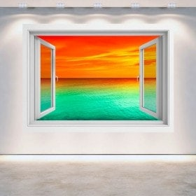 Windows 3D sunset sea