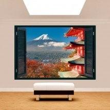 3D walls window Mount Fuji