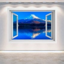 3D wall window Mount Fuji