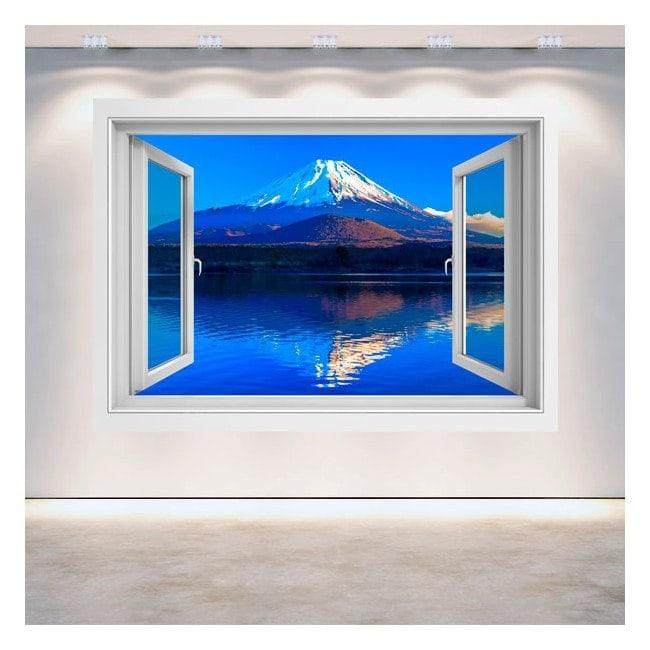 3D wall window Mount Fuji