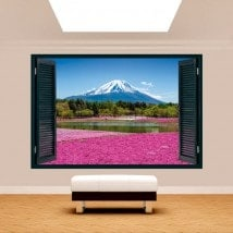 Windows 3D pink flowers gardens Mount Fuji