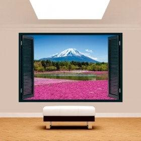 Windows 3D pink flowers gardens Mount Fuji