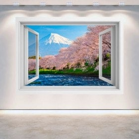 Windows 3D Monte Fuji trees flower of cherry