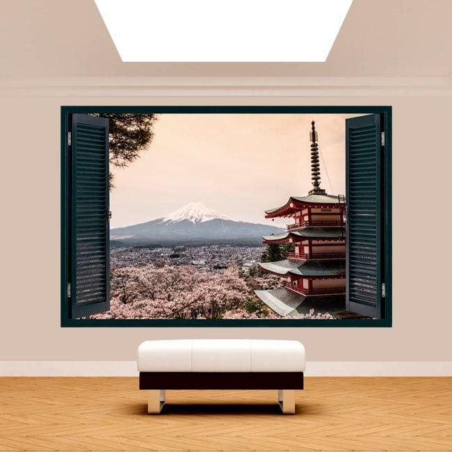 3D Pagoda window Mount Fuji