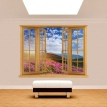 Windows 3D flowers in the mountains