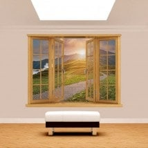 3D mountain window sunset English 5145