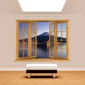 Window 3D Mount Fuji Lake Kawaguchi