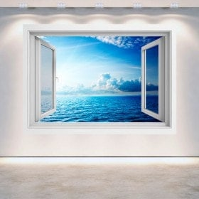 Window 3D sunset on the sea