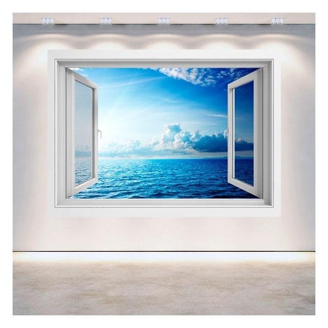 3D sea sunset window