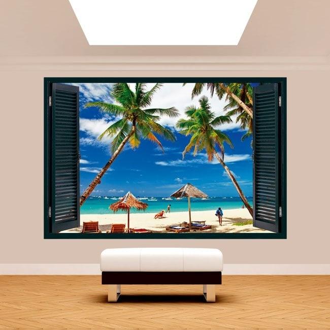 3dwindow Palm trees on the beach