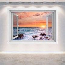 Windows 3D sunset at sea