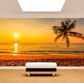 Photomural palm tree sunset beach