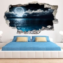 Vinyl 3D Moon and sea