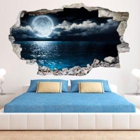 Vinyl 3D Moon and sea