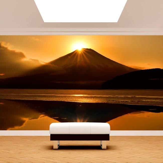Fotomural sunset Mount Fuji Lake Kawaguchi