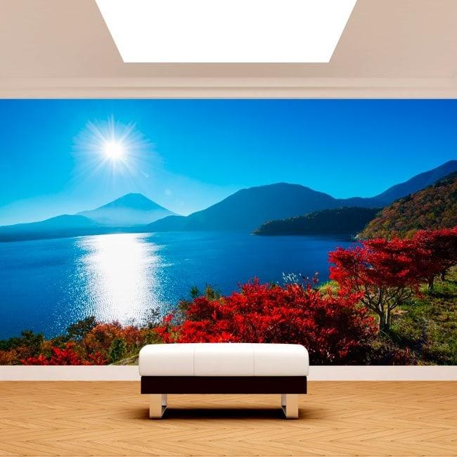 Photo wall murals sunset Mount Fuji