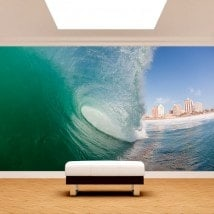 Photo wall murals within the wave
