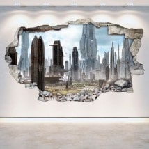 Rattan wall vinyls 3D city of the future Scifi