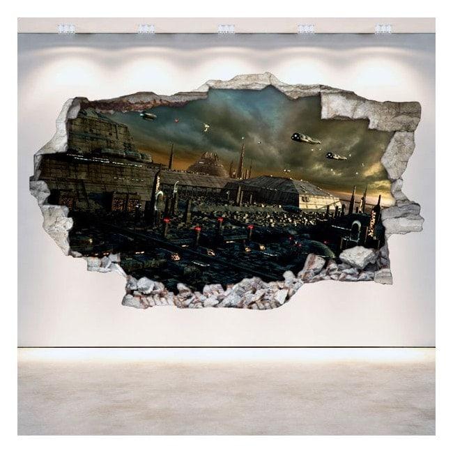 Rattan wall vinyls 3D city science fiction