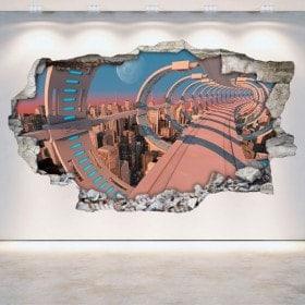 Vinyl wall-broken sci-fi 3D