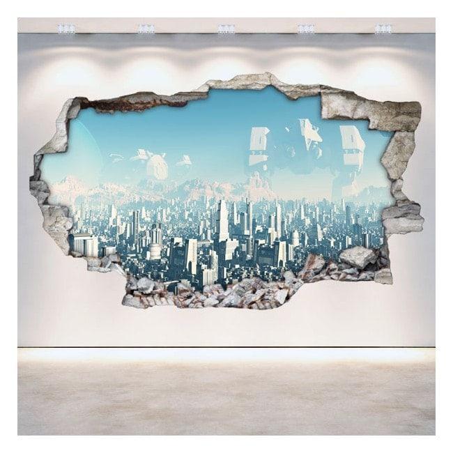 3D sci-fi broken wall vinyls Scifi