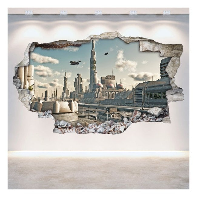 3D science fiction vinyl hole wall Scifi