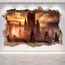 3D Scifi hole vinyl wall science fiction