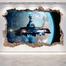 3D vinyl hole wall spaceship science fiction Scifi