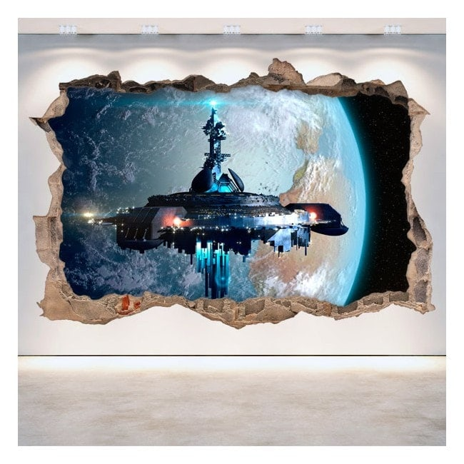 3D vinyl hole wall spaceship science fiction Scifi