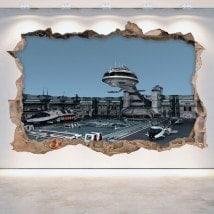 Rattan wall vinyls 3D spaceships