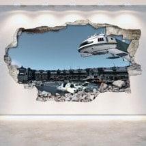 Vinyl wall-broken space station 3D Scifi