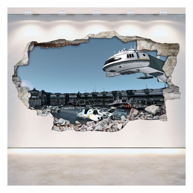 Vinyl wall-broken space station 3D Scifi English 5226