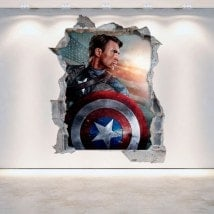 Vinyl Captain America broken 3D wall