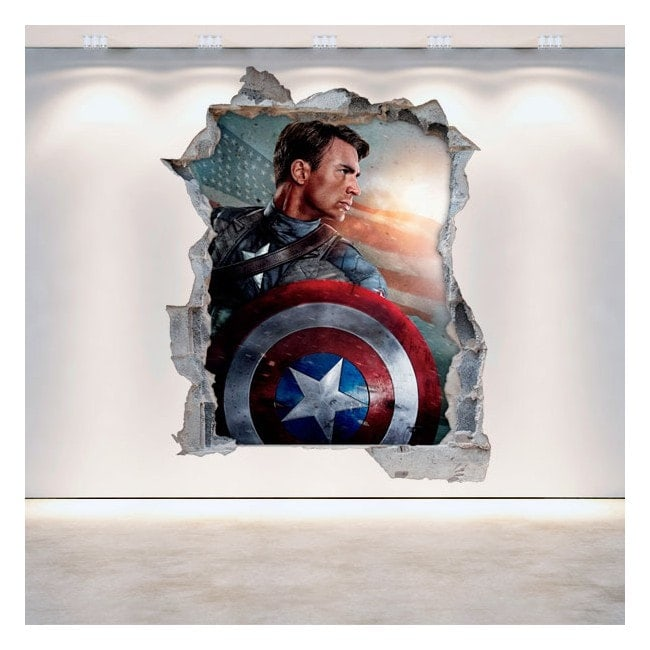Vinyl Captain America broken 3D wall